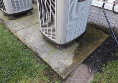 AC unit pad before cleaning