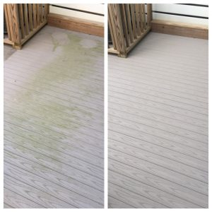 Composite deck before and after pressure washing by Extreme Clean Power Washing